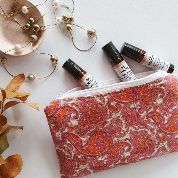 Essential oil roller purse in paisley pink