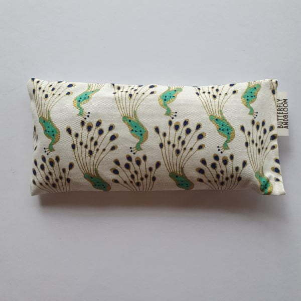 Peacock fabric on Lavender Aromatherapy Eye Pillows on a white background