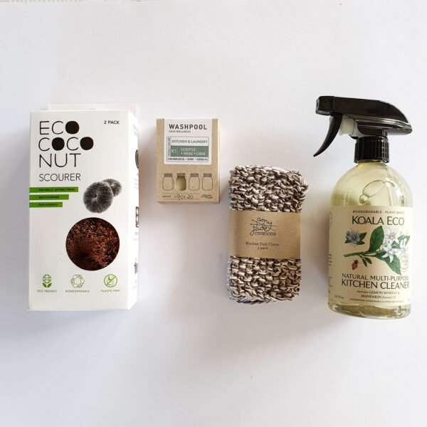 Natural cleaning products in an eco kit