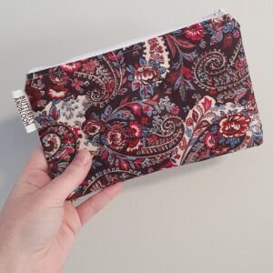 Red Paisley Roller Purse