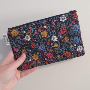 Blue flowered roller pouch for essential oils