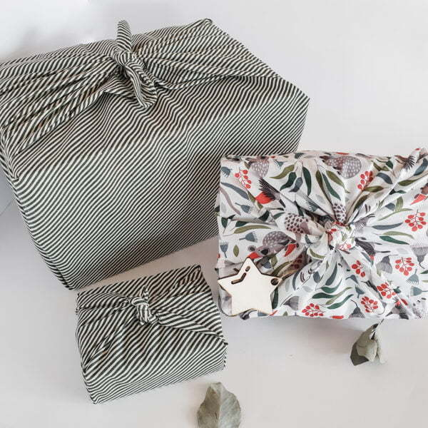Reusable gift wrap in green stripe and Australian print