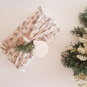 Reusable gift wrap fabric Cream with Trees