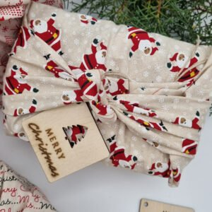 Eco-Friendly reusable gift wrap –Large Santa Butterfly and Bloom