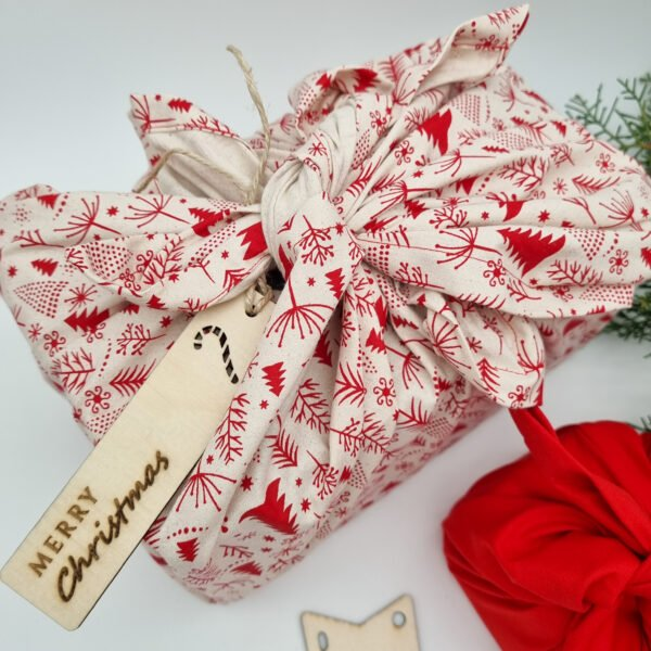 Butterfly and Bloom Cream with Red trees reusable christmas gift wrap