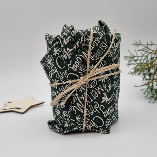 Eco-Friendly reusable gift wrap –Green Script Butterfly and Bloom