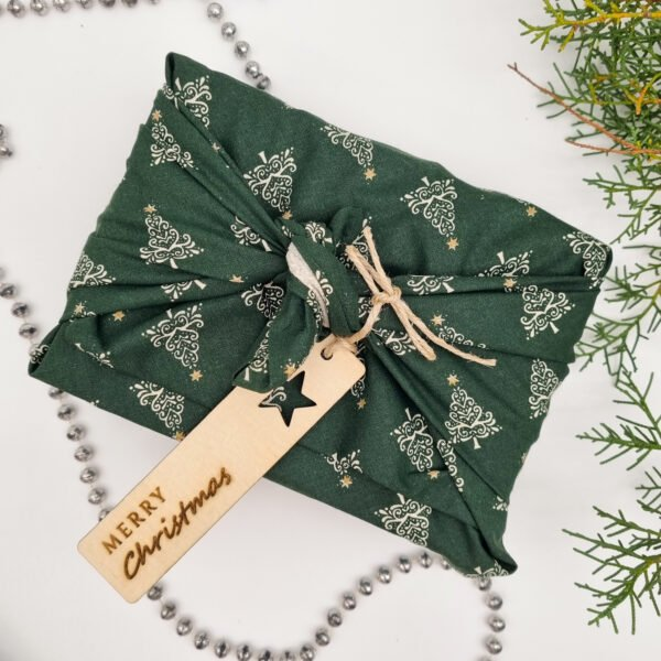 Green Trees - reusable fabric wrap Butterfly and bloom