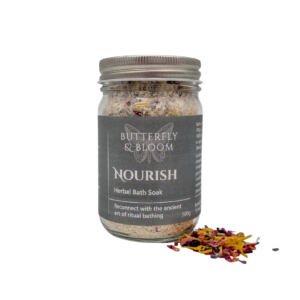 Nourish bath soak for dry skin by Butterfly and Bloom Australia