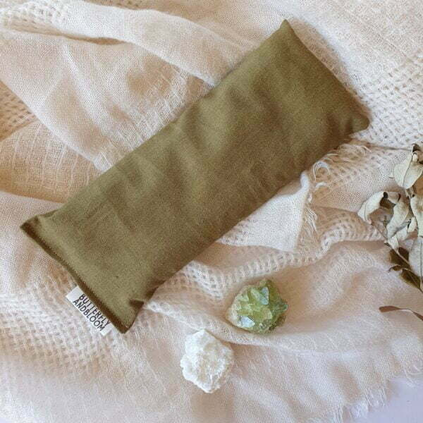 Olive recycled cotton eye pillow