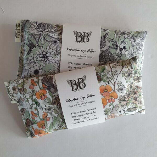 Lavender Aromatherapy Eye Pillows in Australian Floral Designs on a white background