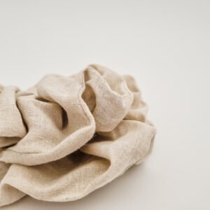 Handmade scrunchies in linen stone by eco-friendly store, Butterfly and Bloom