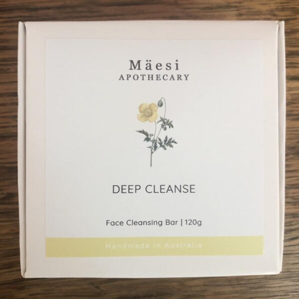 Natural face cleanser deep cleanse soap bar in a white box