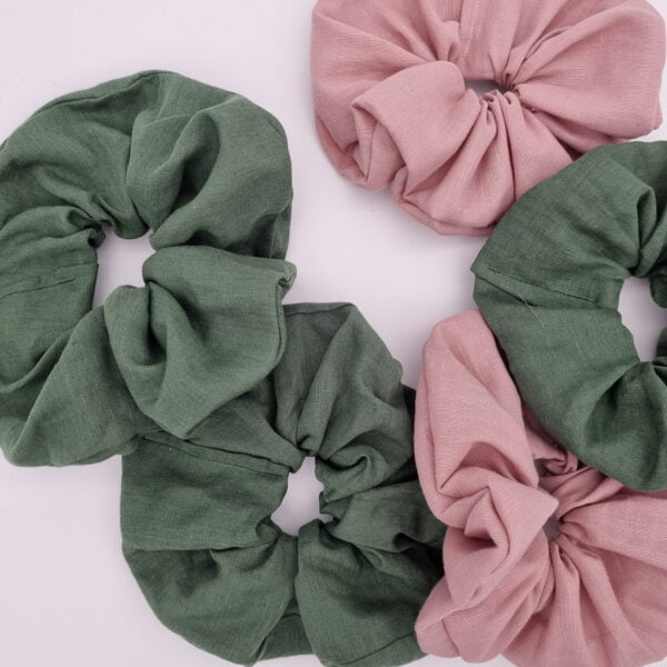 Handmade linen scrunchies in pink and green by Eco store butterfly and Bloom