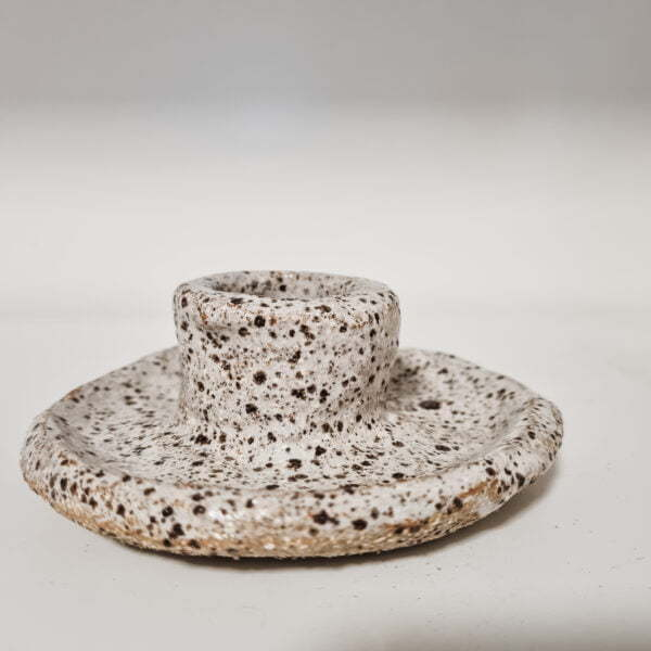 Rustic ceramic candle dish with white speckle glaze
