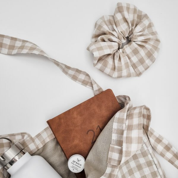 Bone gingham handmade scrunchie from butterfly and bloom