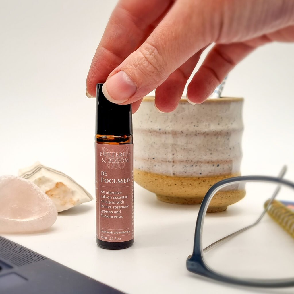 Be Focussed essential oil roller blend by Butterfly and Bloom to help improve focus and concentration