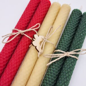 Rolled christmas beeswax candles Butterfly and Bloom