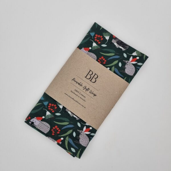 Dark Green Australia Christmas reusable fabric wrap Butterfly and Bloom