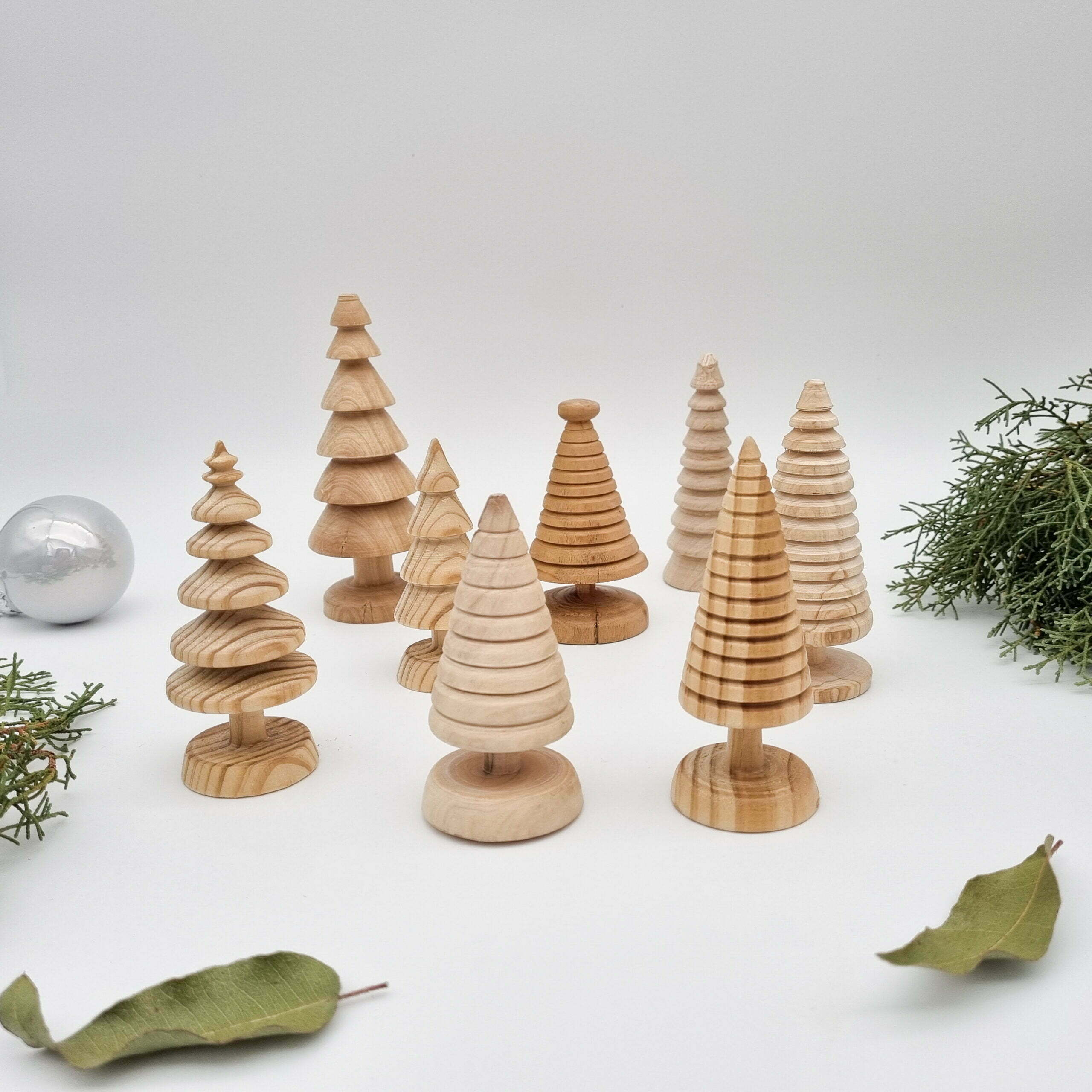 Handmade timber Christmas trees Butterfly and Bloom